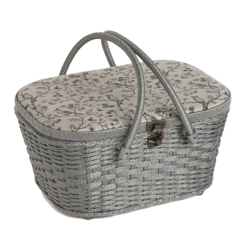 Birds on Vine Large Sewing Basket with Metal Clasp, Double Handles & Inner Accessory Tray