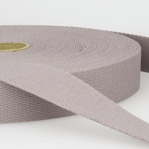 Medium Grey - 100% Cotton Woven Webbing, 25mm wide, Sold Per Metre