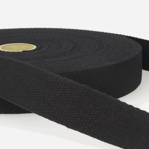 "Black 100% Cotton  Woven Webbing, 25mm wide, Sold Per Metre"""