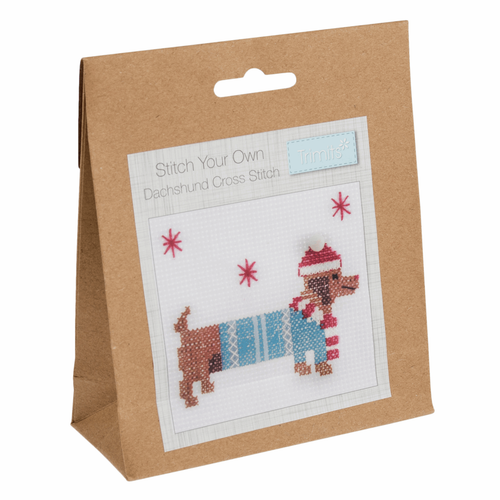 Festive Dachshund Sausage Dog Mini Counted Cross-Stitch Kit