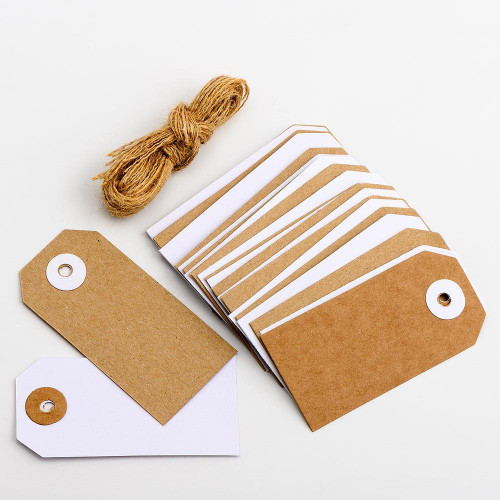 Kraft & White Gift Tags with Jute String (8x4cm) 24pcs