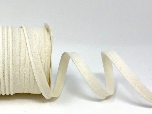 Ivory Polycotton Piping, 10mm wide, Sold Per Metre