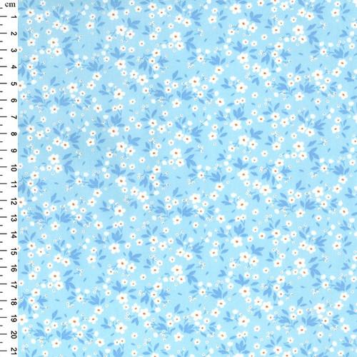 Gypsophila on Blue 100% Cotton Poplin Fabric, 110cm/43in wide, Sold Per HALF Metre