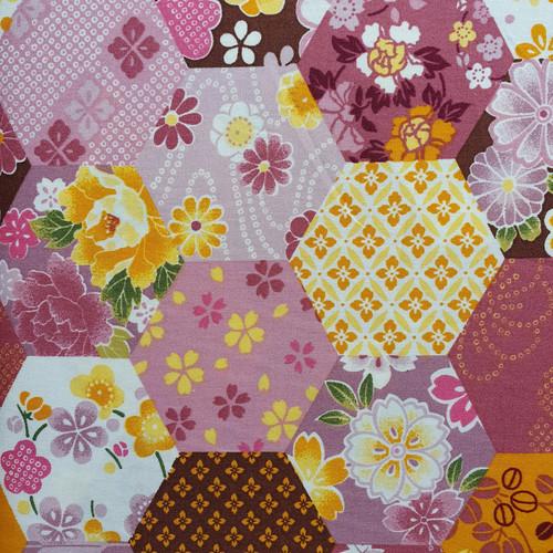 """Plum Honeycomb """"Hexie Quilt"""" 100% Cotton Poplin Fabric, 110cm/43in wide, Sold Per HALF Metre"""