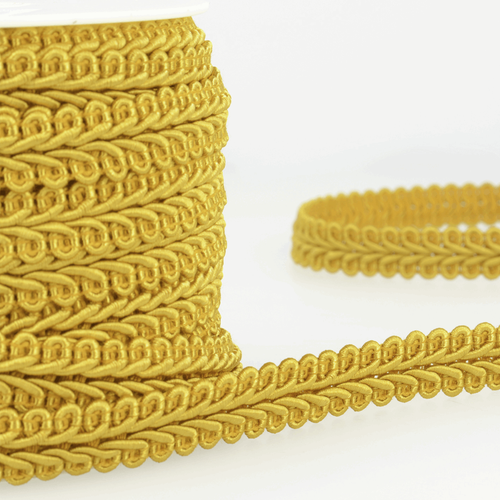 Mustard Gimp Braid Upholstery Trim, 15mm (3/8in) wide (Sold Per Metre)