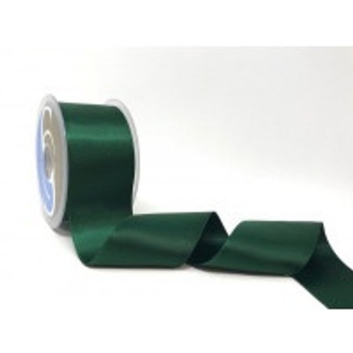Bottle Green Satin Ribbon, 50mm wide, Sold Per Metre