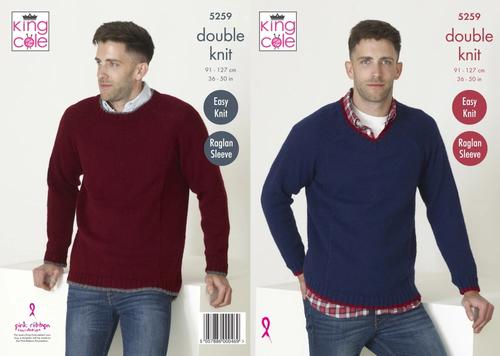 5259 DK Raglan Sleeve Easy Knit Mens Jumper Size:91-127