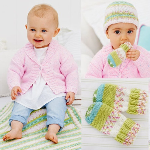 9479 Wondersoft DK 4 Easy Knit Designs Includes Premature Sizes. Sizes- 31-56cm