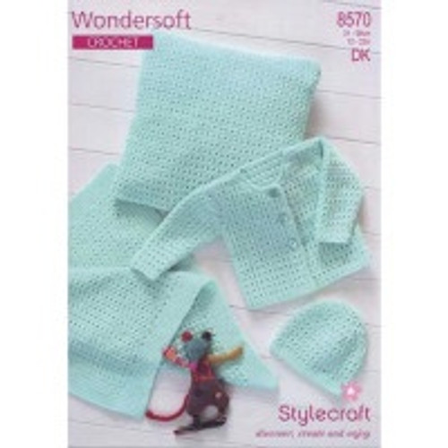 8570 Children Wondersoft Crochet (cardigan, hat, pillow, and blanket) Size: 31-56cm