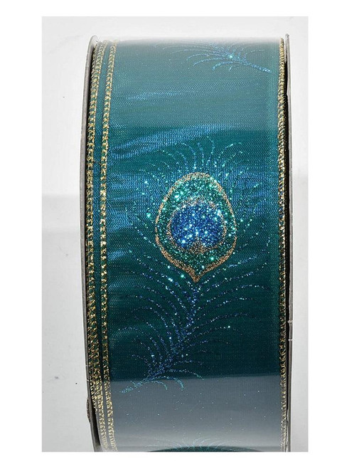 Single Glittered Peacock Feather on Teal Ribbon with Gold Wired Edge, 63mm wide (Sold Per Metre)