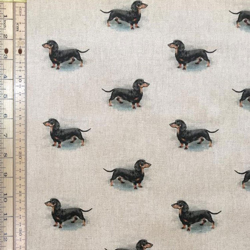 Dachshund All Over Print Linen - 140cm wide, Sold Per Half Metre