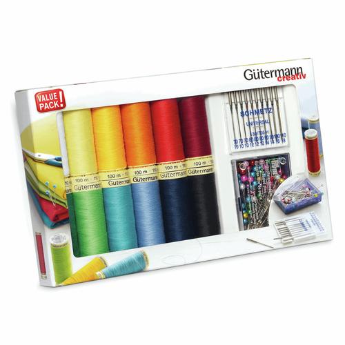 Thread Set: Sew-All: 12 x 100m, 10 x Universal Machine Needles and Pearl Head Pins: Assorted