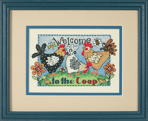 Mini Stamped Cross Stitch: Welcome To The Coop