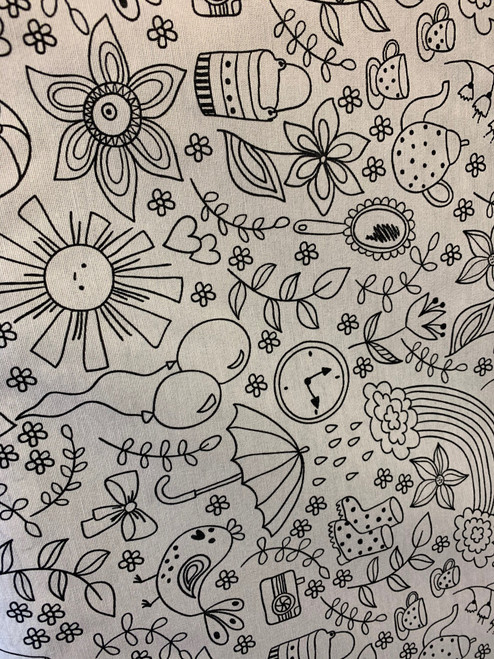 Spot the Objects Colour-In DIY Fabric, 140cm/55in wide, Sold Per HALF Metre