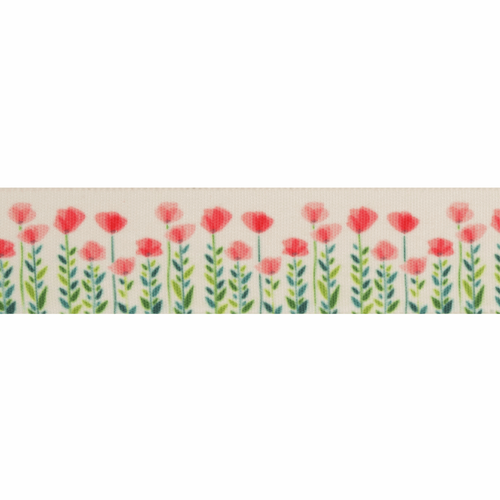Poppy and Leaves on Cream Ribbon, 25mm wide, Sold Per Metre