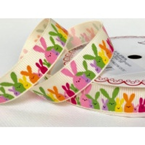 Easter Bunny Rabbits in Multicolours  on Ivory Grosgrain Ribbon, 16mm (5/8in) wide (Sold Per Metre)