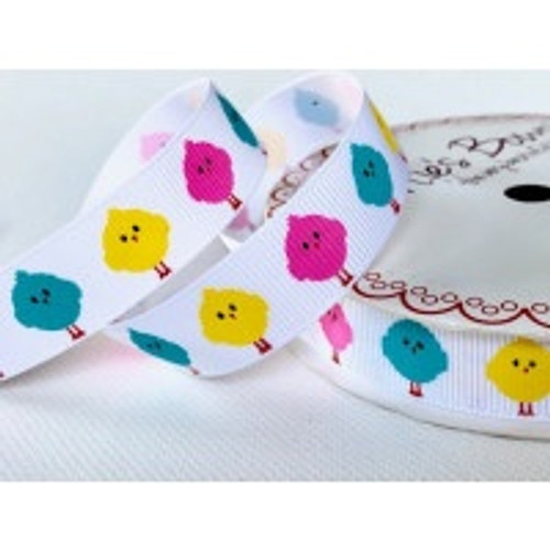 Easter Chicks on White Grosgrain Ribbon, 16mm (5/8in) wide (Sold Per Metre)