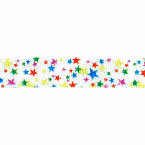 Rainbow Stars on White Satin Ribbon, 15mm (9/16in) wide, Sold Per Metre
