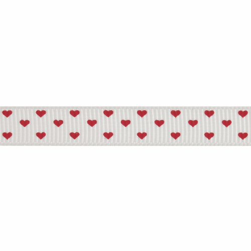 Red Hearts on Cream Grosgrain Ribbon, 10mm (3/8in) wide (Sold Per Metre)