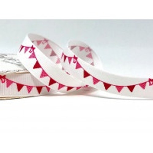 Pink Bunting On Cream Grosgrain-16mm Ribbon ( Sold By The Metre)