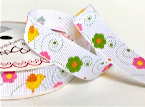 Chicks & Flowers on 16mm White Grosgrain Ribbon ( Sold By the Metre)
