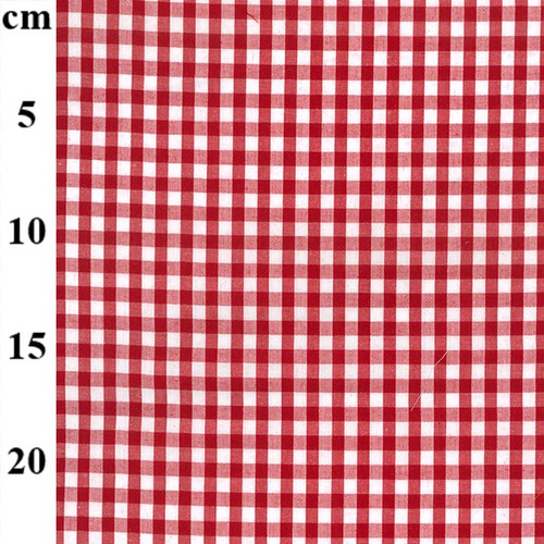 Red & White 1/4in Medium Gingham Check Polycotton Fabric, 112cm/44in wide, Sold Per HALF Metre