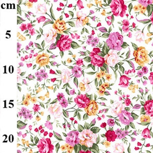 English Garden Pink Floral 100% Cotton Poplin Fabric, 110cm/44in wide, Sold Per HALF Metre