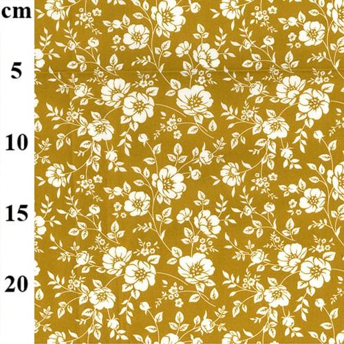 Ivory Flowers on Ochre 100% Cotton Poplin Fabric, 110cm/44in wide, Sold Per HALF Metre