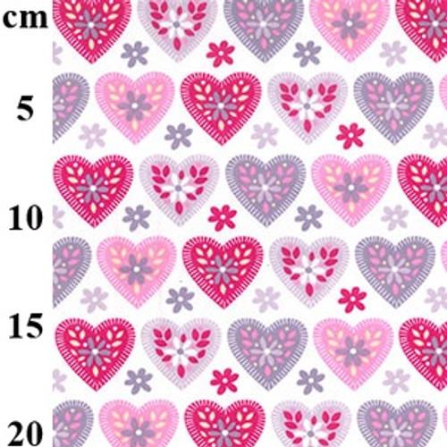 "Pink Hearts on White -100% Cotton Poplin Fabric, 110cm /44"" wide, Sold Per Half Metre"