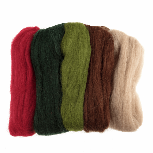 Assorted Christmas Needle Felting Wool Roving, 100% Wool, 50 grams