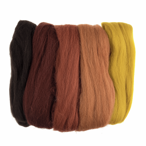 Assorted Autumn Needle Felting Wool Roving, 100% Wool, 50 grams