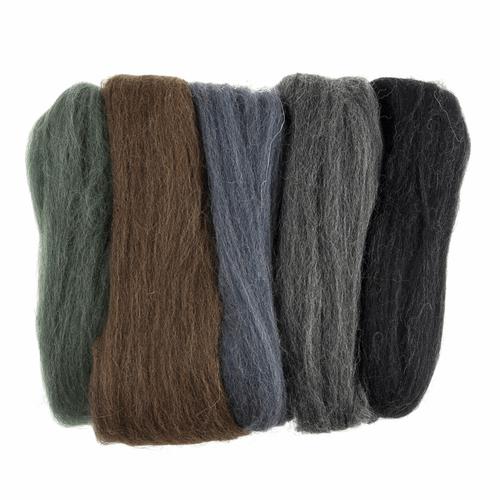 Assorted Melange (Neutral) Needle Felting Wool Roving, 100% Wool, 50 grams