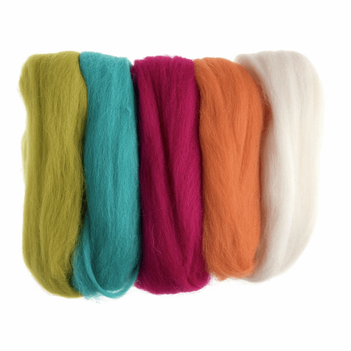Assorted Neon Brights Needle Felting Wool Roving, 100% Wool, 50 grams