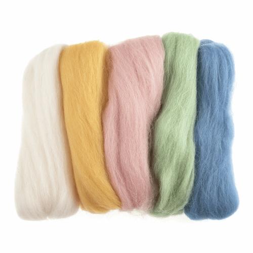 Assorted Pastels Needle Felting Wool Roving, 100% Wool, 50 grams