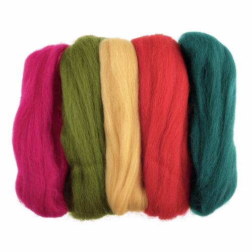 Assorted Bright Needle Felting Wool Roving, 100% Wool, 50 grams