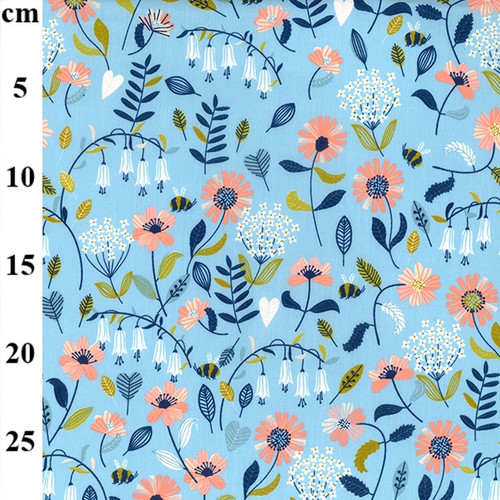 Bee's In The Garden On Blue- 100% Cotton Fabric, 150cm/ 59in wide, Sold Per HALF Metre""