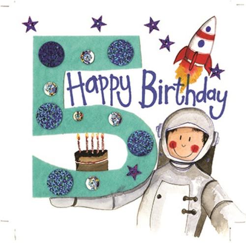 5 - 5th Birthday Astronaut Rocket Birthday Card