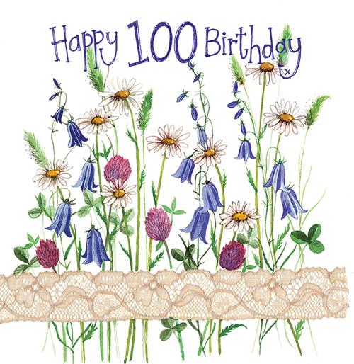 100 - 100th Birthday Floral Birthday Card