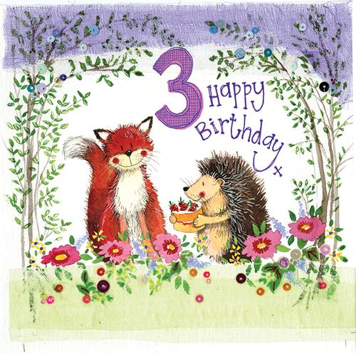 3 - 3rd Birthday Woodland Birthday Card