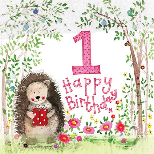 1 - 1st Birthday Woodland Large Sparkle Birthday Card