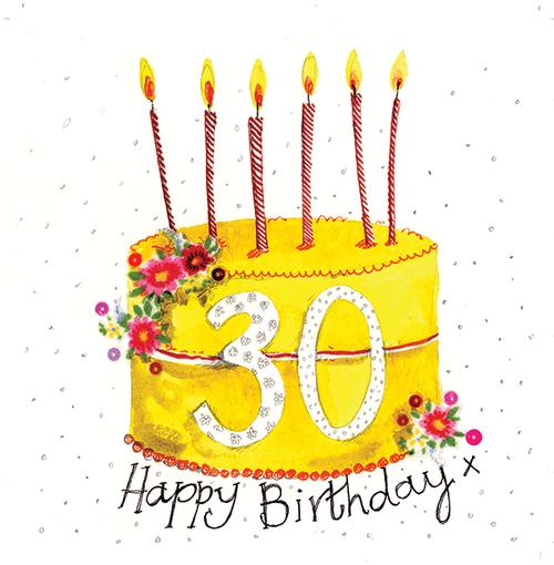 30 - 30th Birthday Cake Large Sparkle Birthday Card