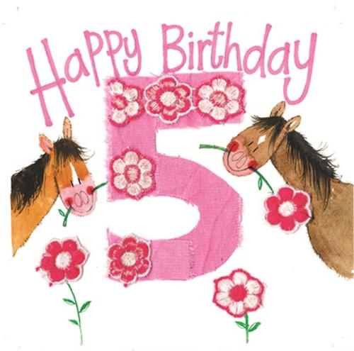 5 - 5th Birthday Horse & Pink Flowers Birthday Card