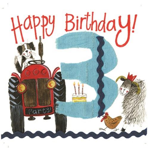 3 - 3rd Birthday Farmyard Tractor Birthday Card
