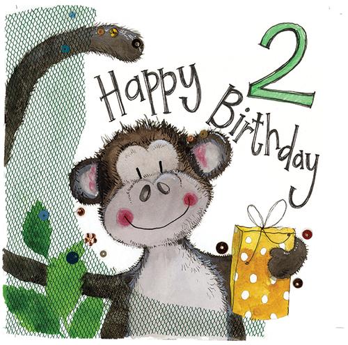 2 - 2nd Birthday Cheeky Monkey Birthday Card