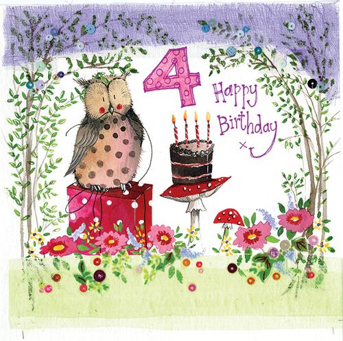 4 - 4th Birthday Woodland Birthday Card