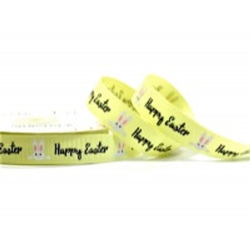 Happy Easter Bunnies on Yellow Grosgrain Ribbon, 16mm (5/8in) wide (Sold Per Metre)
