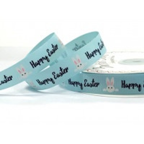 Happy Easter Bunnies on Blue Grosgrain Ribbon, 16mm (5/8in) wide (Sold Per Metre)