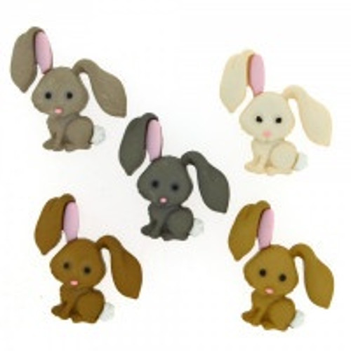 Bunny Rabbit Novelty Buttons, Assorted Colours *Sold Individually*