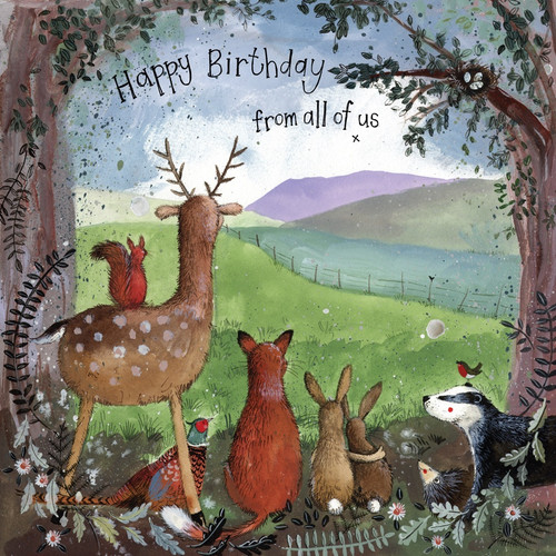 """Forest Friends """"Happy birthday from all of us"""" Birthday Card"""