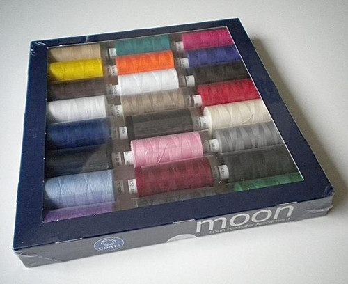 Bright Assorted Moon 1000yd Polyester Sewing Threads, 24 spools